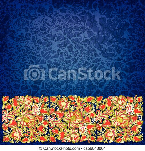 abstract grunge background with floral ornament - csp6843864