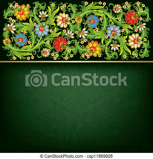 abstract grunge background with floral ornament - csp11869928