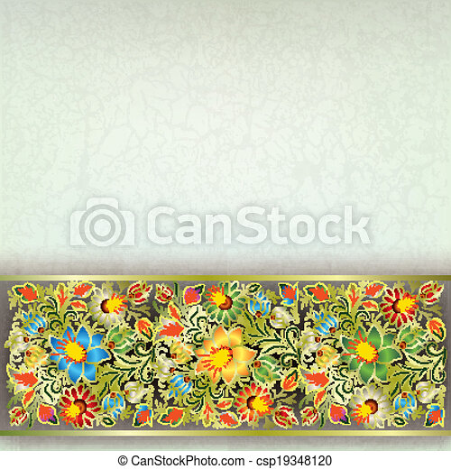 abstract grunge background with floral ornament - csp19348120