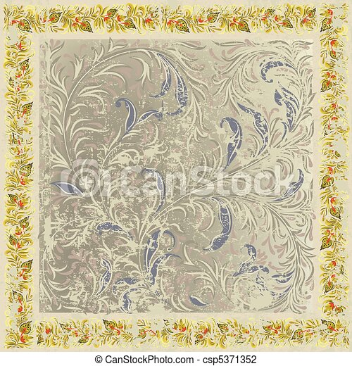 abstract grunge background with floral ornament beige - csp5371352