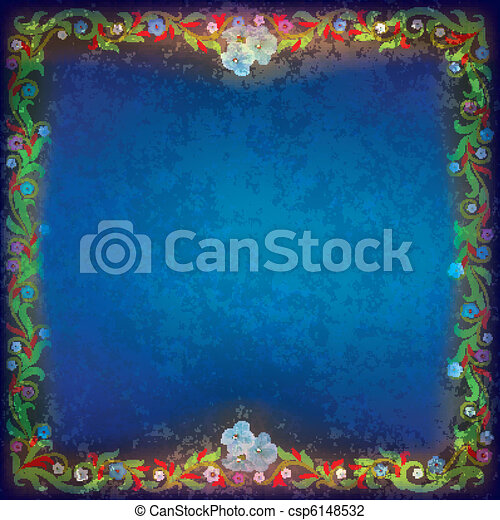 abstract grunge background with floral ornament - csp6148532