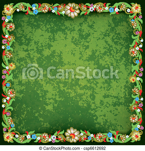 abstract grunge background with floral ornament - csp6612692
