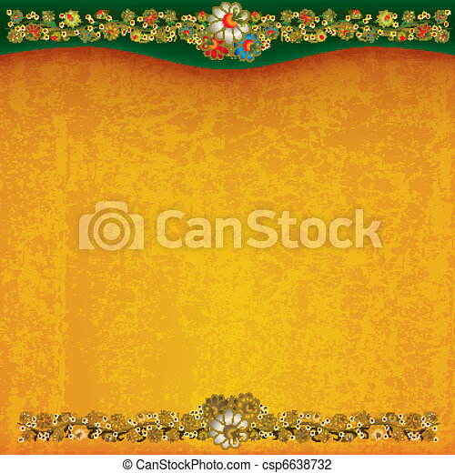 abstract grunge background with floral ornament - csp6638732