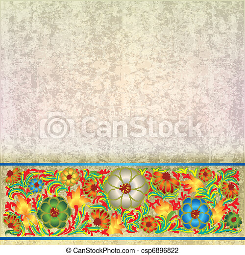 abstract grunge background with floral ornament - csp6896822