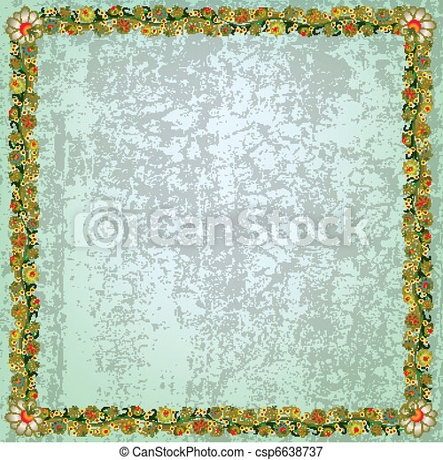 abstract grunge background with floral ornament - csp6638737