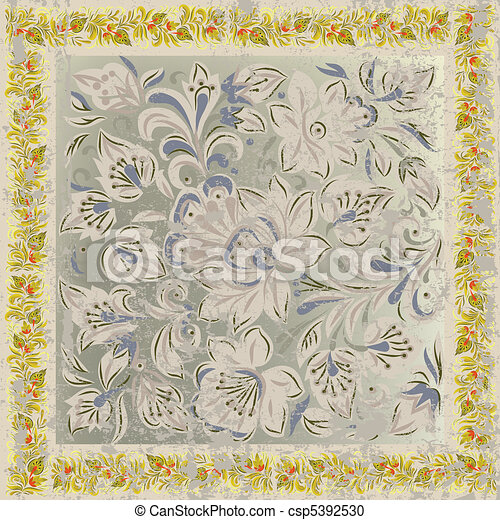 abstract grunge background with floral ornament beige  - csp5392530