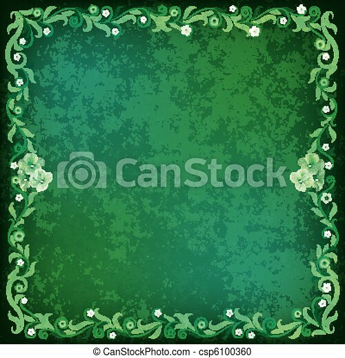 abstract grunge background with floral ornament - csp6100360