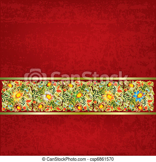abstract grunge background with floral ornament - csp6861570