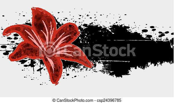Abstract  grunge background with red flower. - csp24396785