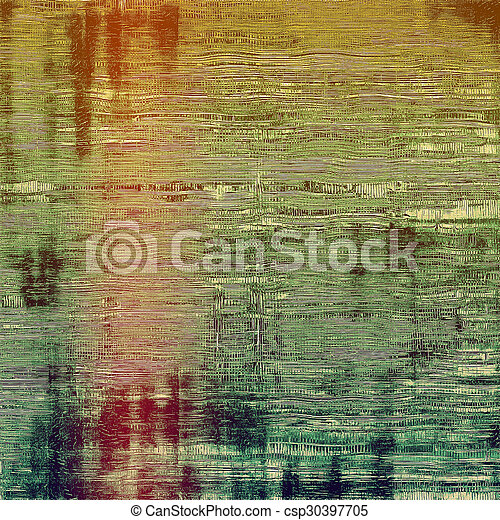 Abstract grunge background with retro design elements and different color patterns: yellow (beige); brown; red (orange); green - csp30397705