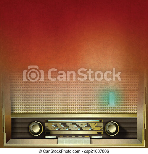abstract grunge background with retro radio - csp21007806