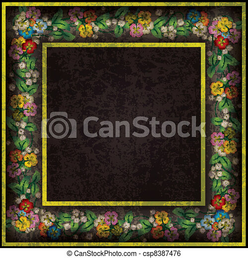 abstract grunge background with spring flowers - csp8387476
