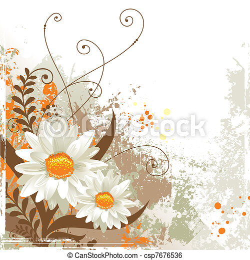 Abstract grunge floral background - csp7676536