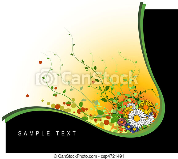 Abstract grunge floral background - csp4721491