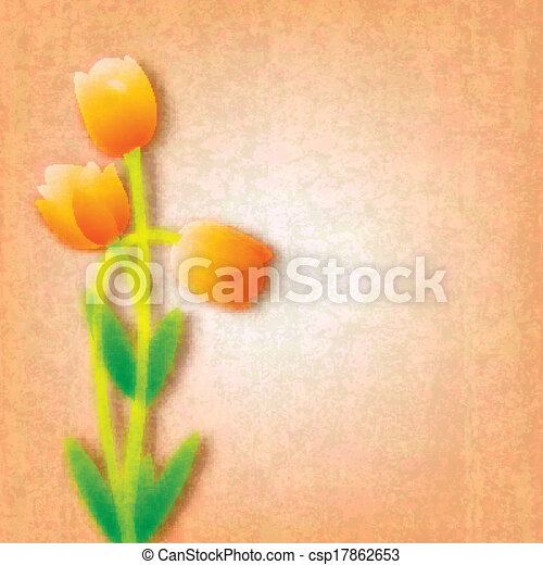 abstract grunge floral background with tulips - csp17862653