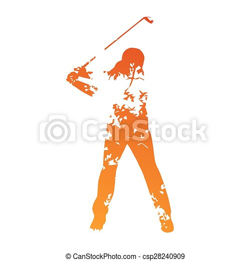 Abstract grunge golf player - csp28240909