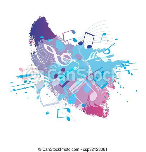 Abstract grunge music background with notes, vector  - csp32123061