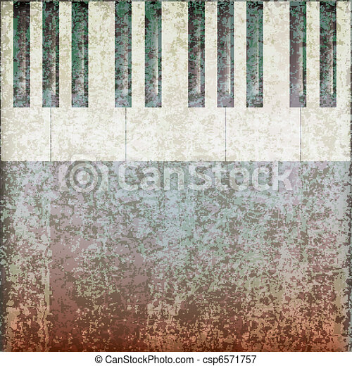 abstract grunge music background with piano keys - csp6571757