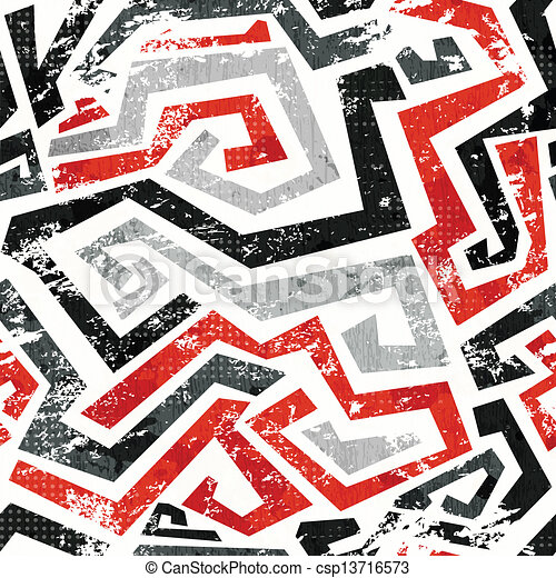 abstract grunge red curved lines seamless pattern - csp13716573