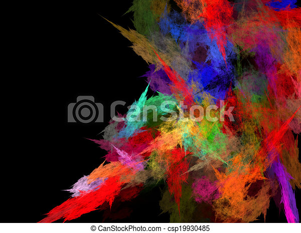 Abstract grungy colorful strokes of paint on a black background. With space for text - csp19930485