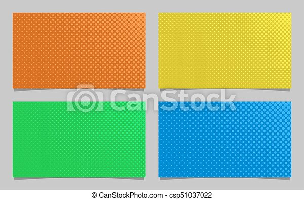 Abstract Halftone Dot Pattern Business Card Background Design Set