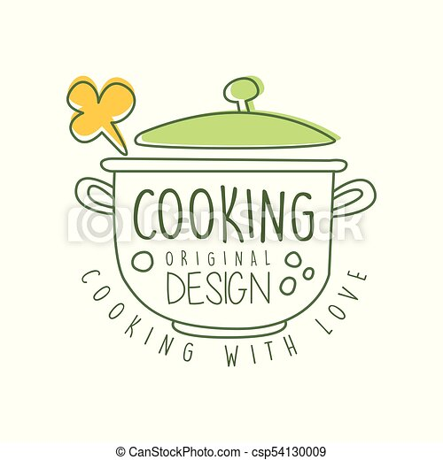 Abstract Hand Drawn Culinary Logo Original Design With Saucepan And Cooking With Love Lettering Line Label For Food Studio Home Kitchen Or Cafe