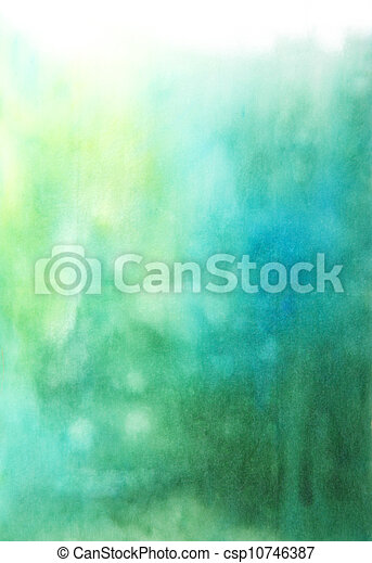 Abstract hand drawn watercolor background: blue and green blurs - csp10746387