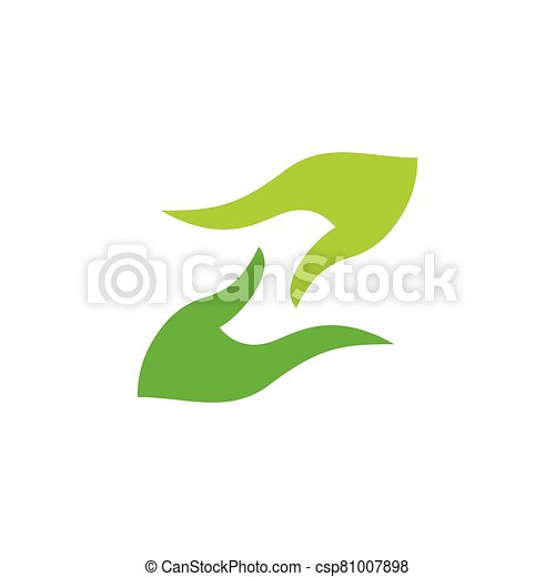 abstract hand palm care green leaf design logo vector - csp81007898