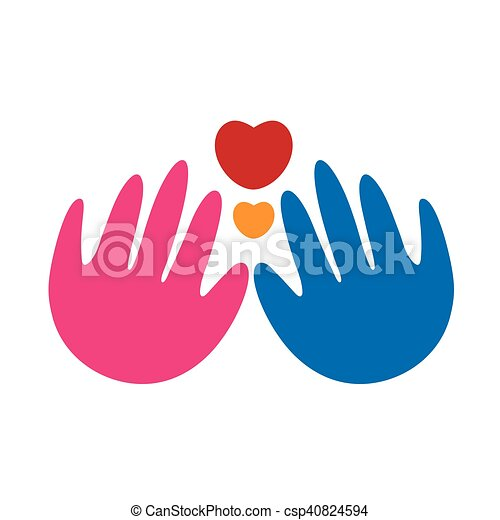 Abstract hands and heart logo - csp40824594
