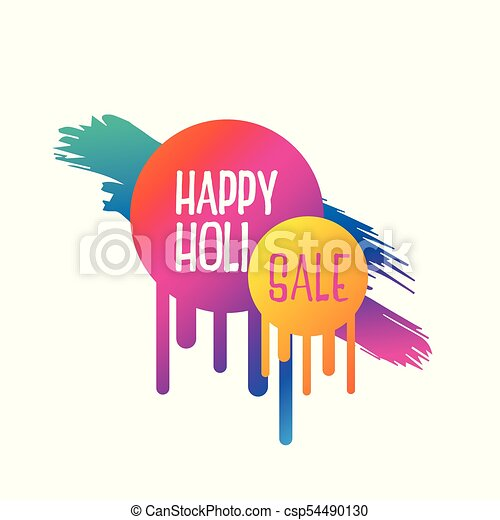 abstract happy holi sale banner design - csp54490130