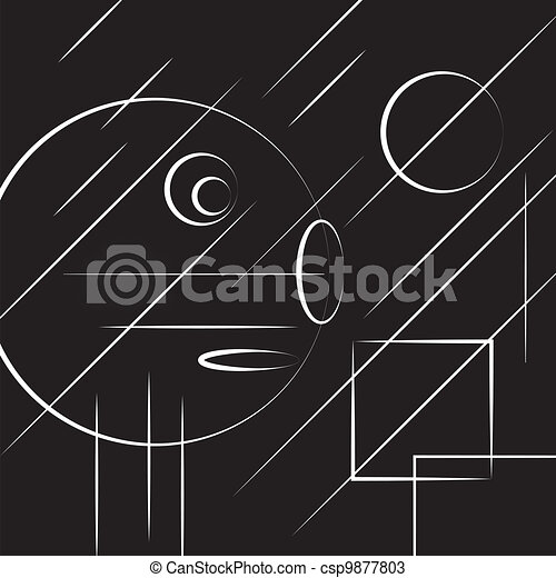 abstract head lines on black - csp9877803
