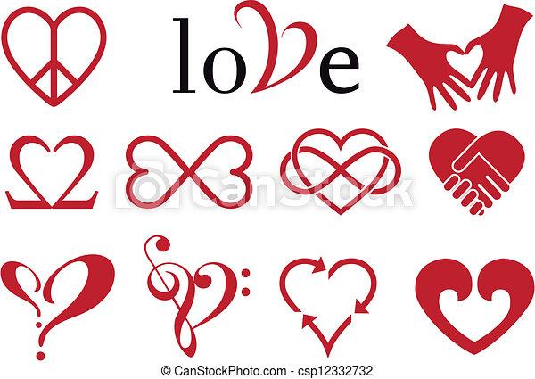 abstract heart designs, vector set - csp12332732