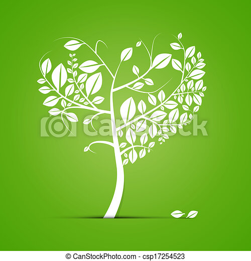 Abstract Heart Shaped Tree on Green Background - csp17254523
