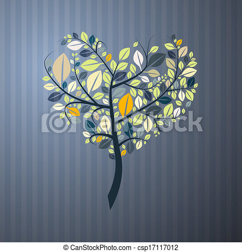Abstract Heart Shaped Tree on Paper Background  - csp17117012