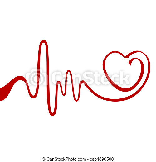 abstract heart heart and ecg from red ribbon vector clipart rh canstockphoto com heartbeat clipart vector heart rate clipart