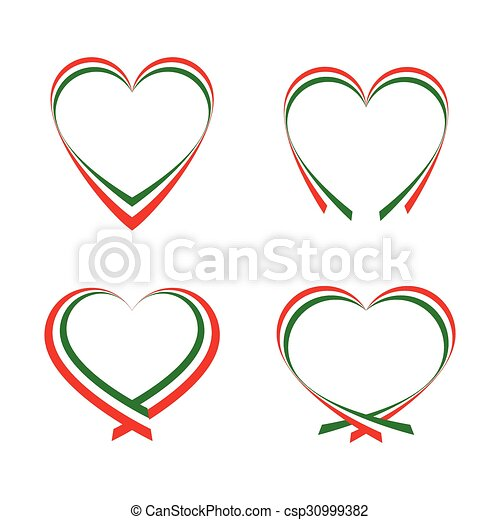 Abstract hearts with the colors of the Italian flag - csp30999382
