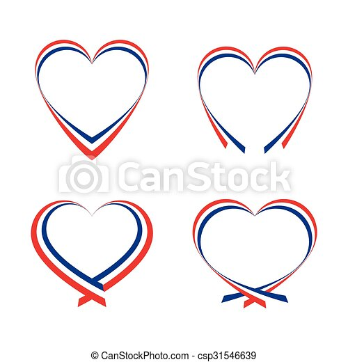 Abstract hearts with the colors of the French flag - csp31546639