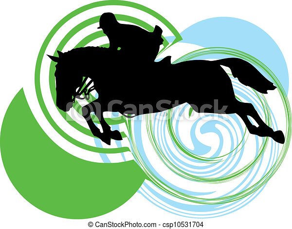 Abstract horses silhouettes. Vector - csp10531704