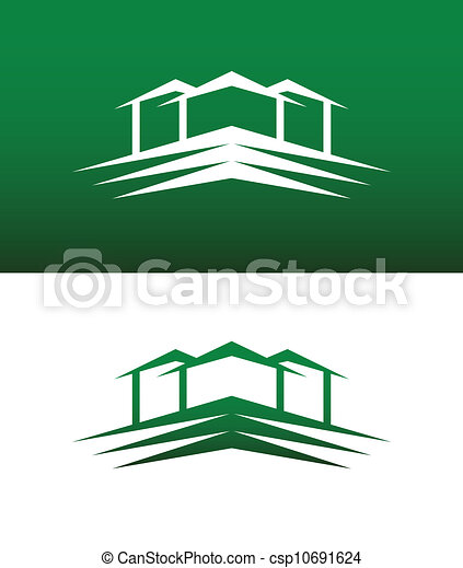 Abstract House Icon Vector Solid and Reversed - csp10691624