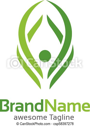 abstract human figure Fitness logo template - csp58397278