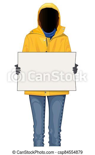 Abstract human figure with a blank poster - csp84554879