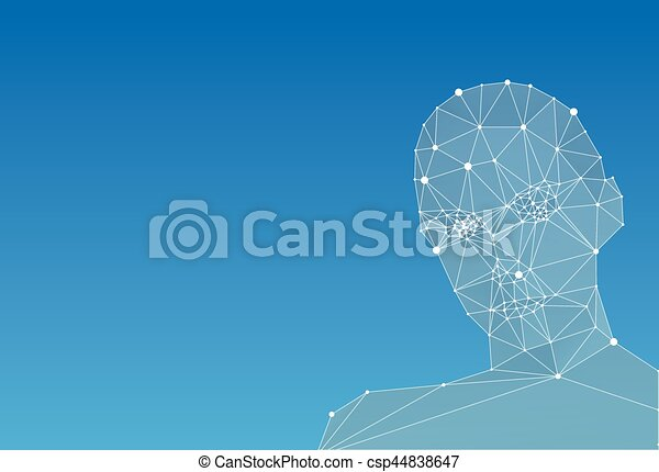 Abstract human head on blue background - csp44838647