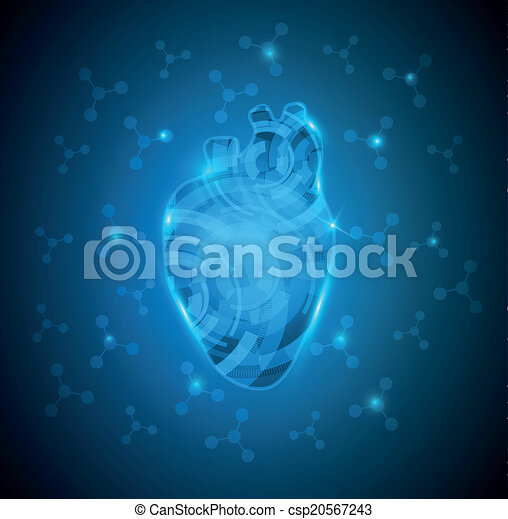 Abstract Human Heart Of Gears And Molecules At The Background Deep Blue Gradient Color