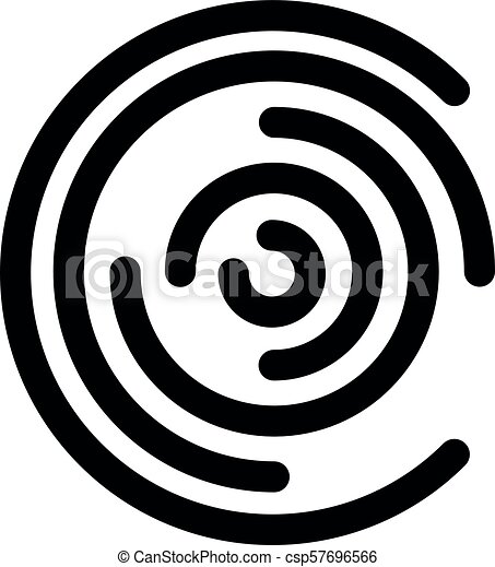 Abstract Icon Evokes Circular Maze Outline Modern Design Element Simple Black Flat Vector Sign With Rounded Corners