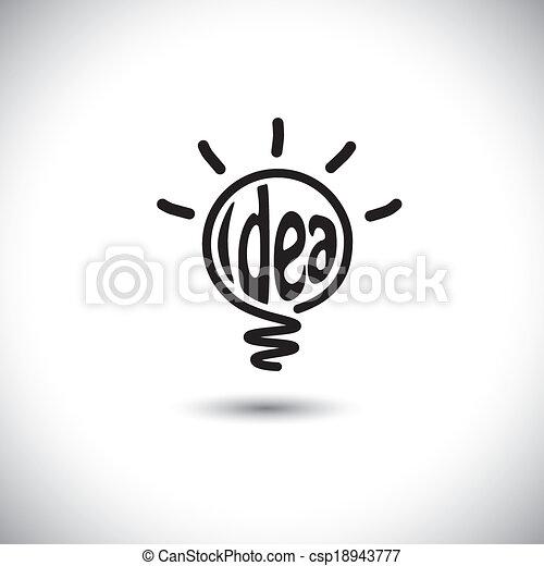 abstract idea bulb glowing - concept vector icon - csp18943777