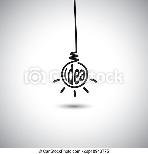 abstract idea bulb hanging & glowing - concept vector icon - csp18943775