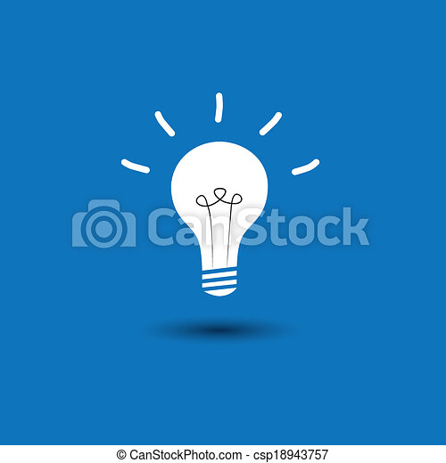 abstract idea light bulb on blue background - concept vector ico - csp18943757
