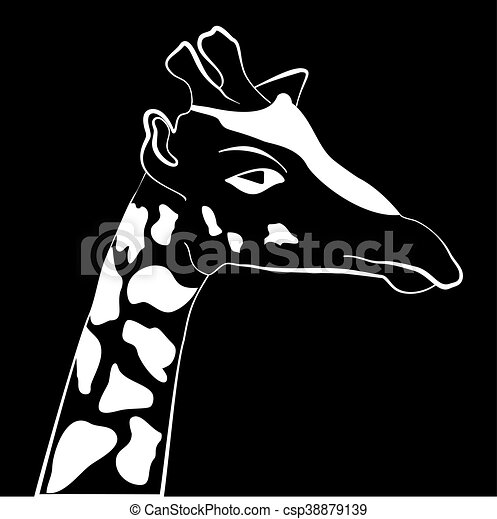 Abstract illustration, black and white silhouette of giraffe. - csp38879139