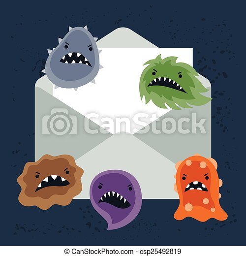 Abstract illustration email spam virus infection. - csp25492819