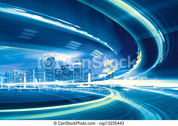 Abstract Illustration of an urban highway going to the modern city downtown, speed motion with colorful light trails. - csp13235443